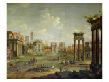 The Campo Vaccino, Rome Looking Towards St. Francesca Romana and the Arch of Titus Giclee Print by Antonio Joli