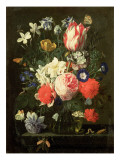 Rose, Tulip, Morning Glory and Other Flowers in a Glass Vase on a Stone Ledge Giclee Print by Nicolaes van Veerendael