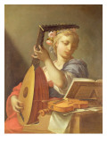 Personification of Music: a Young Woman Playing a Lute Giclee Print by Francesco Trevisani