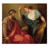Egeria Handing Numa Pompilius His Shield, 1794 Giclee Print by Angelica Kauffmann