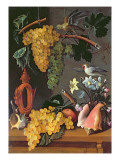 Still Life with Grapes, Birds, Flowers and Shells Giclee Print by Juan de Espinosa