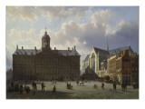 Dam Square with the Royal Palace, Amsterdam, 1855 Giclee Print by Cornelis Springer