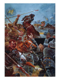 The Charge of the 9th Lancers During the Retreat from Mons Giclee Print by Stanley L. Wood