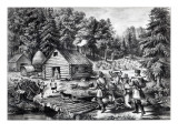 The Pioneer's Home on the Western Frontier, Pub. by Currier and Ives, 1867 Premium Giclee Print by  American School