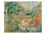 Young Girls in the Garden at Montmartre, 1893-95 Giclée-Druck von Pierre-Auguste Renoir