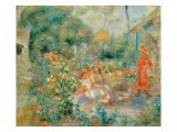 Young Girls in the Garden at Montmartre, 1893-95 Giclee Print by Pierre-Auguste Renoir