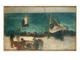 Seascape at Berck, Fishing Boats and Fishermen, 1872-73 Giclee Print by Édouard Manet