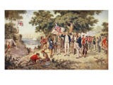 Captain Cook Taking Possession of New South Wales, 1770 Premium Giclee Print by J.a. Gilfillan