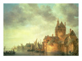 A Castle by a River with Shipping at a Quay, 1642 Giclee Print by Jan Josephsz. Van Goyen