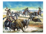 Native American Indians Killing American Bison Giclee Print by Ron Embleton