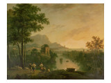 Coastal Landscape at Evening with Shepherds and Shepherdesses Dancing Reproduction procédé giclée par Richard Wilson
