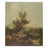 Italianate Wooded Landscape with a Shepherd Boy Piping to Peasant Women Giclee Print by Francesco Zuccarelli