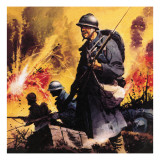 The Story of World War One: No Retreat -- the Battle Call at Verdun Giclee Print by Frank Bellamy