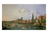 A View of the River Thames at York Steps with Westminster Abbey Beyond Giclee Print by William James