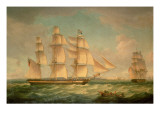 Merchantmen in a Stiff Breeze Off the Cliffs of Dover Giclee Print by Thomas Whitcombe