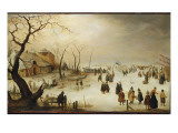 A Winter River Landscape with Figures on the Ice Giclee Print by  Avercamp