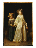 The Artist's Stepsister, with Her Younger Sister Catharina Giving Her a Flute, 1651 Giclee Print by Gerard ter Borch