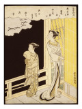A Courtesan and Her Kamuro on a Verandah Watching Flying Geese in the Rain Giclee Print by Suzuki Harunobu