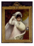Portrait of a Lady in a White Dress and a Fur Rimmed Cape Giclee Print by Matthew William Peters