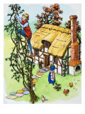 Jack Climbs the Beanstalk, Illustration from 'Jack and the Beanstalk', 1969 Giclee Print by  English School