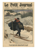 Alpine Postmen Using Ski During their Rounds in the Snow Giclee Print by  French School