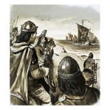 Edward the Confessor as a Young King Enduring Trouble from Danish Invaders Giclee Print by  English School
