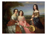 Group Portrait of Three Girls in a Landscape Giclee Print by William Baker