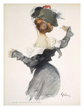 Cartoon of a Woman Performing a Hurried Striptease During the First World War Giclee Print by Jules-Alexandre Grün