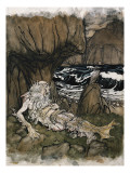 A Crowned 'Merman', a Sea God Sleeping on a Rocky Shore Giclee Print by Arthur Rackham