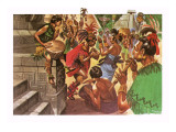 Mayan Natives Dancing and Making Music in Front of a Temple Giclee Print by Peter Jackson