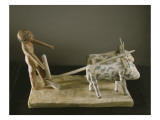 Funerary Model of a Ploughman Leading His Plough Drawn by Two Oxen Giclee Print by Middle Kingdom Egyptian