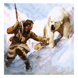 Vilhjalmar Stefansson Being Attacked by a Polar Bear Giclee Print by McConnell