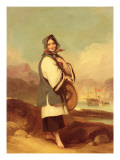 Portrait of a Eurasian Girl Against a Chinese River Landscape Giclee Print by George Chinnery