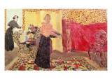 Three Women in an Interior with Rose Wallpaper, 1895 Reproduction proc&#233;d&#233; gicl&#233;e par Edouard Vuillard