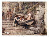 View of Clovelly, with Stranded Boat and Figures, 1882 Giclee Print by Myles Birket Foster