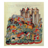 Battle Scene, from the Biblia De La Casa De Alba, 1430 Giclee Print by  Spanish School