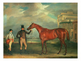 General Chasse, a Chestnut Racehorse Being Held by His Trainer, with His Jockey, J. Holmes Giclee Print by John E. Ferneley