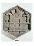 The Art of Building, Hexagonal Decorative Relief Tile from a Series Giclee Print by Andrea Pisano
