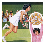 Virginia Wade Winning the Ladies Single Tennis Trophy at Wimbledon in July 1977 Giclee Print by John Keay