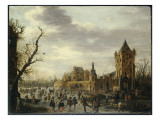 A View of Kasteel Batestein Vianen, in Winter with a Gentleman, His Wife and Retinue Giclee Print by Jan Josephsz. Van Goyen