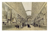 View of the Great Gallery at the Louvre, C.1850-70 Giclee Print by Louis Jules Arnout