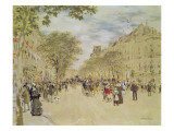 The Pavillon De Hanovre and the Boulevard Des Italiens, Paris, after 1870 Giclee Print by Jean Francois Raffaelli