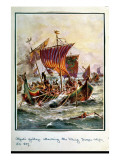 Alfred's Galleys Attacking the Viking Dragon Ships, 897 Ad Giclee Print by Henry Payne
