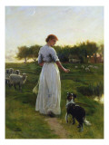 A Shepherdess with Her Dog and Flock in a Moonlit Meadow Giclee Print by George Faulkner Wetherbee