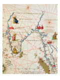 India and Malaysia, from an Atlas of the World in 33 Maps, Venice, 1st September 1553 Reproduction proc&#233;d&#233; gicl&#233;e par Battista Agnese