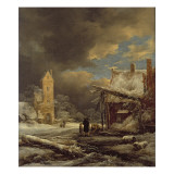 A Winter Landscape with a Peasant Gathering Firewood Giclee Print by  Ruisdael