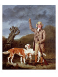 A Sportsman Loading a Flintlock Gun with Two Retrievers and a Dead Pheasant in a Landscape Giclee Print by Benjamin Marshall