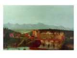 Columbiaville and Stockport Creek, Near New York, Early 19th Century Premium Giclee Print by  American School