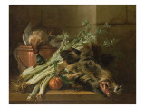 A Dead Mallard, a Boar's Head, Celery and a Copper Pot on a Ledge Giclee Print by Jean-Baptiste Oudry
