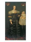 Double Portrait of Mary, Lady Bowes, Aged 24, and Her Eldest Son, Thomas, 1630 Reproduction procédé giclée par  English School